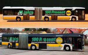 Busmodell und Original 25 Jahre VTF