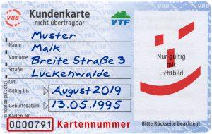 Azubi-Zeitkarten: VTF Kundenkarte