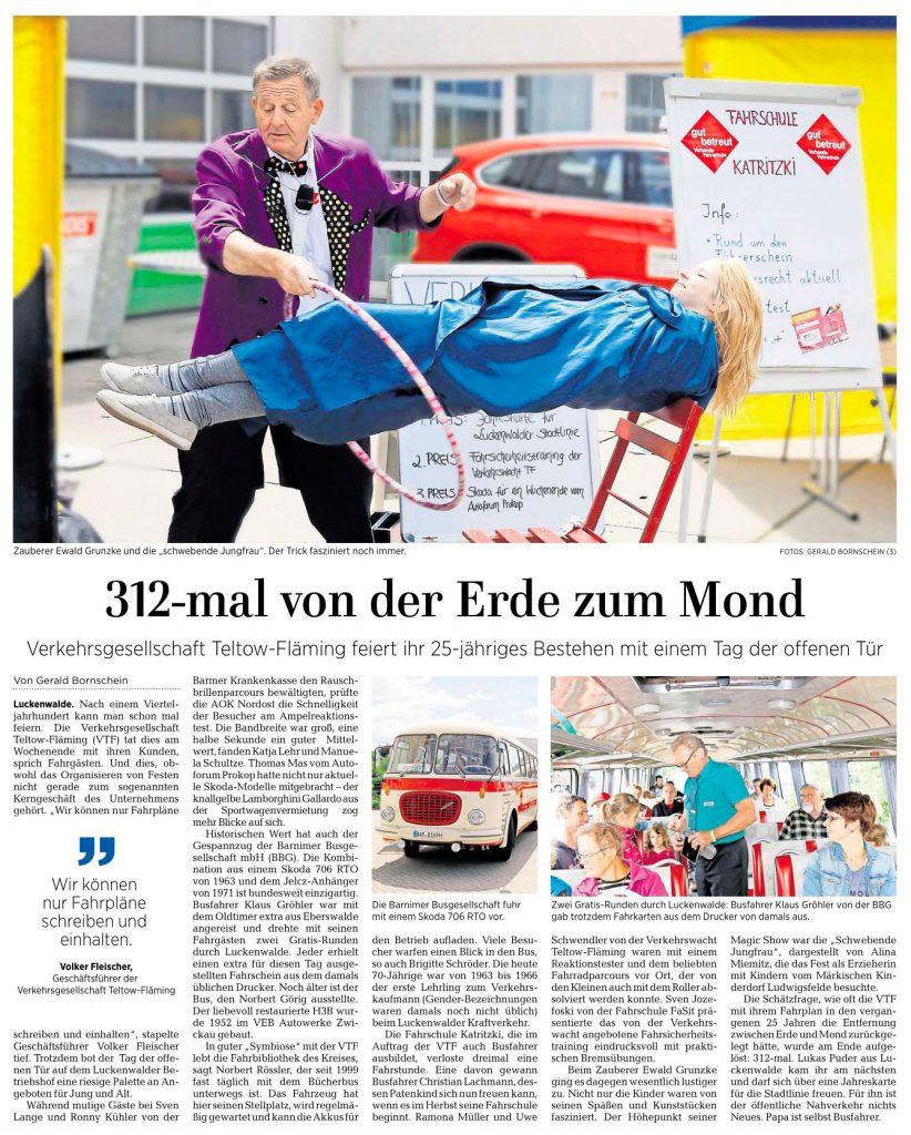 25 Jahre Geschichte der VTF - Märkische Allgemeine vom 19. Juni 2017