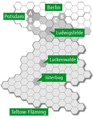 Tickets für das VTF Bediengebiet: Wabenkarte Teltow-Fläming